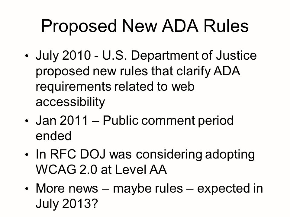 Proposed New ADA Rules July 2010 - U.S.