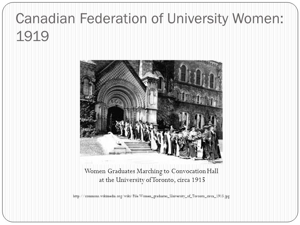 Canadian Federation of University Women: 1919 Women Graduates Marching to Convocation Hall at the University of Toronto, circa 1915 http://commons.wikimedia.org/wiki/File:Women_graduates_University_of_Toronto_circa_1915.jpg