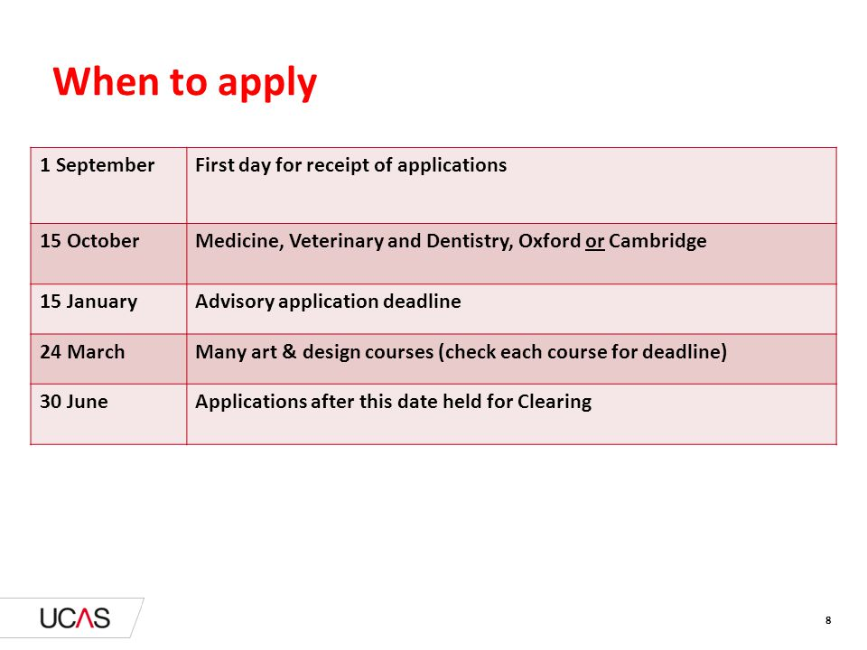 8 When to apply 1 SeptemberFirst day for receipt of applications 15 OctoberMedicine, Veterinary and Dentistry, Oxford or Cambridge 15 JanuaryAdvisory application deadline 24 MarchMany art & design courses (check each course for deadline) 30 JuneApplications after this date held for Clearing