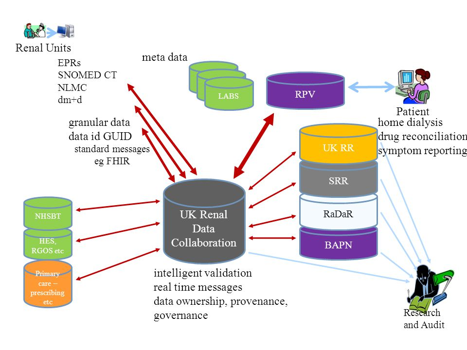 BAPN RaDaR UK Renal Data Collaboration SRR UK RR RPV Patient Research and Audit Renal Units LABS Primary care – prescribing etc HES, RGOS etc NHSBT EPRs SNOMED CT NLMC dm+d standard messages eg FHIR granular data data id GUID intelligent validation real time messages data ownership, provenance, governance meta data home dialysis drug reconciliation symptom reporting