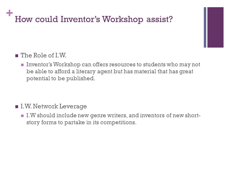 + How could Inventor's Workshop assist. The Role of I.W.