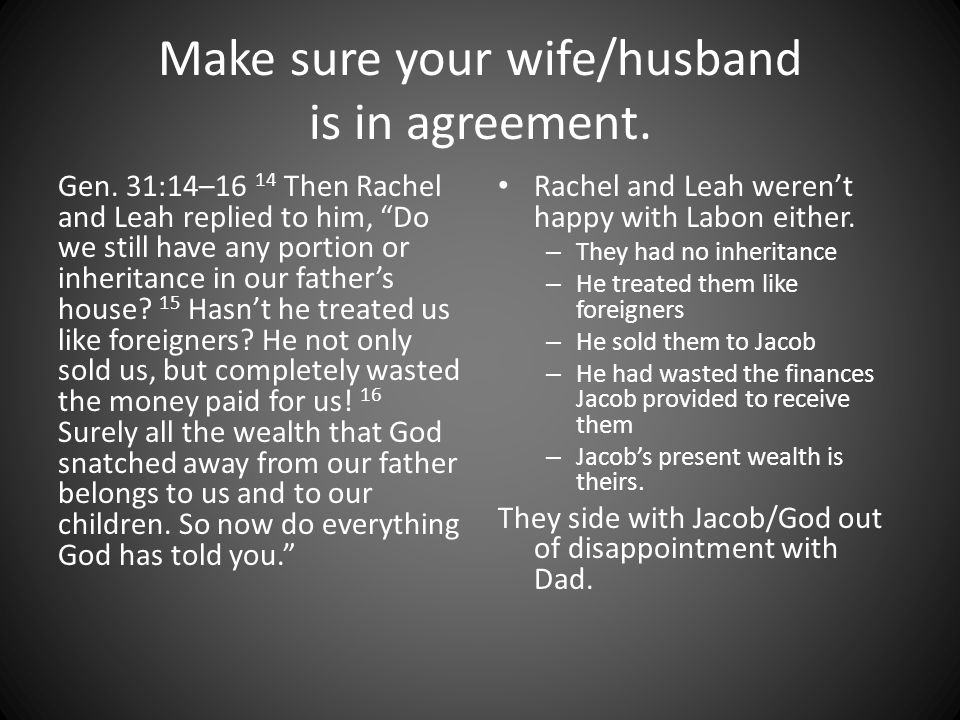 Make sure your wife/husband is in agreement. Gen.
