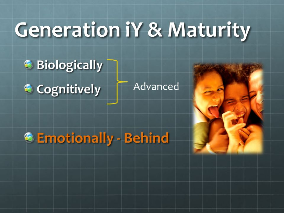 Generation iY & Maturity BiologicallyCognitively Emotionally - Behind Advanced