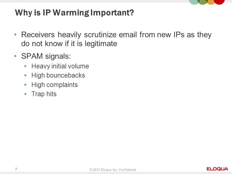 © 2012 Eloqua, Inc. Confidential 7 Why is IP Warming Important.