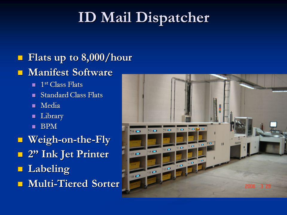 ID Mail Dispatcher Flats up to 8,000/hour Flats up to 8,000/hour Manifest Software Manifest Software 1 st Class Flats 1 st Class Flats Standard Class Flats Standard Class Flats Media Media Library Library BPM BPM Weigh-on-the-Fly Weigh-on-the-Fly 2 Ink Jet Printer 2 Ink Jet Printer Labeling Labeling Multi-Tiered Sorter Multi-Tiered Sorter