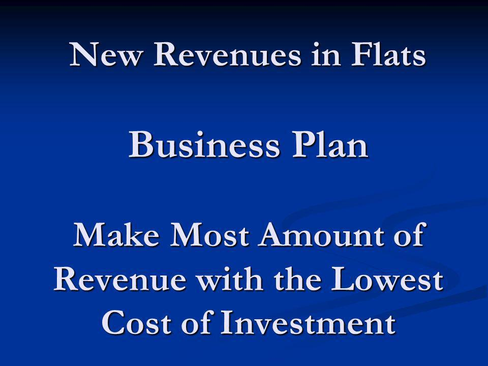 New Revenues in Flats Business Plan Make Most Amount of Revenue with the Lowest Cost of Investment