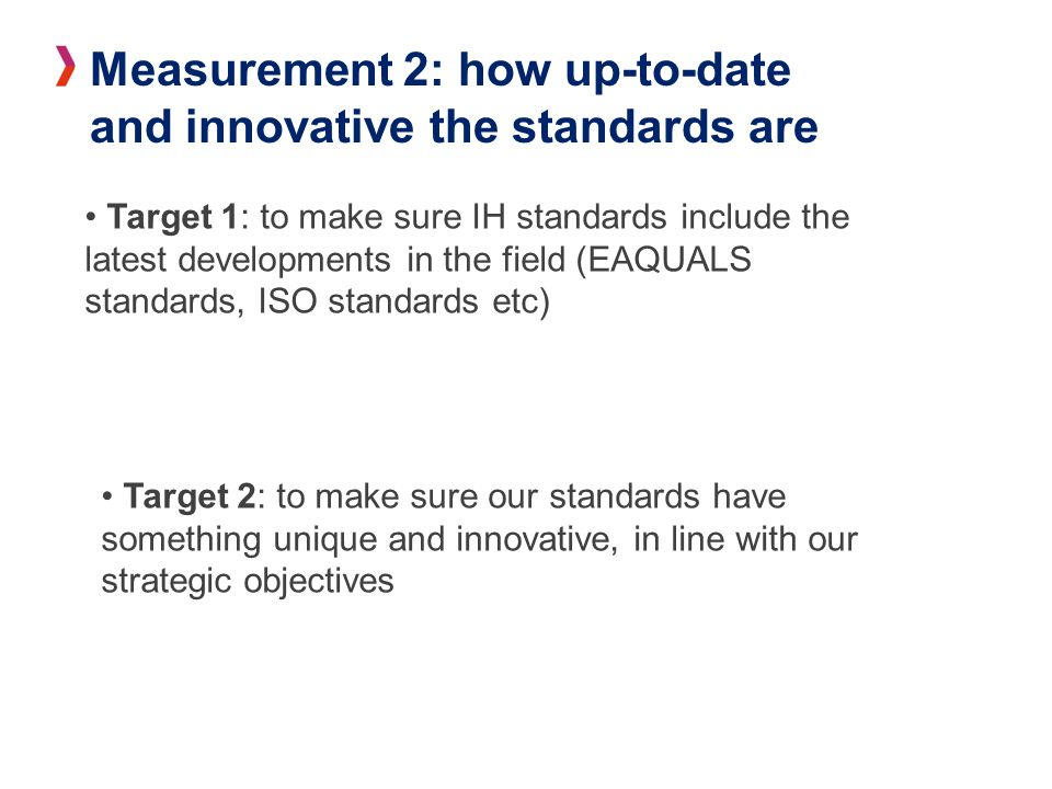 Measurement 2: how up-to-date and innovative the standards are Target 1: to make sure IH standards include the latest developments in the field (EAQUALS standards, ISO standards etc) Target 2: to make sure our standards have something unique and innovative, in line with our strategic objectives