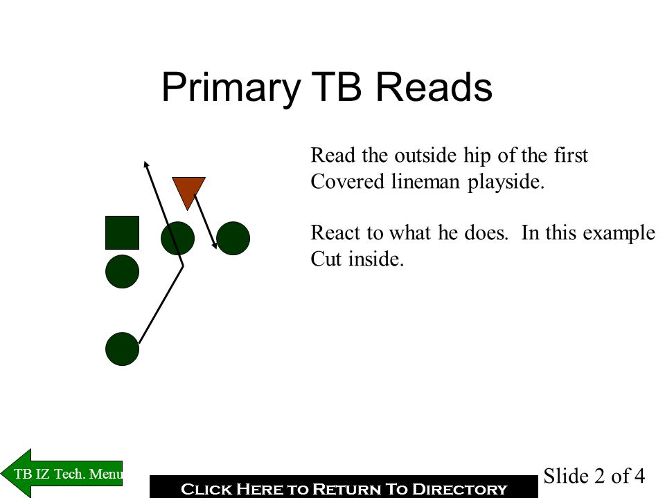 TB Read Coaching Points Unless your read pinches, your eyes should be going to your secondary read.