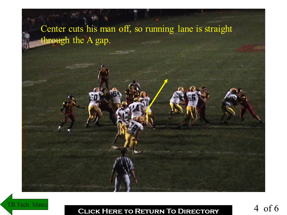 DT is flowing out and RT takes him that way. Eyes go to secondary read(Center #57) TB Tech.