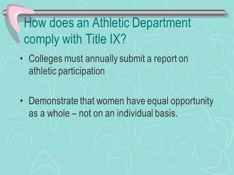 How does an Athletic Department comply with Title IX.
