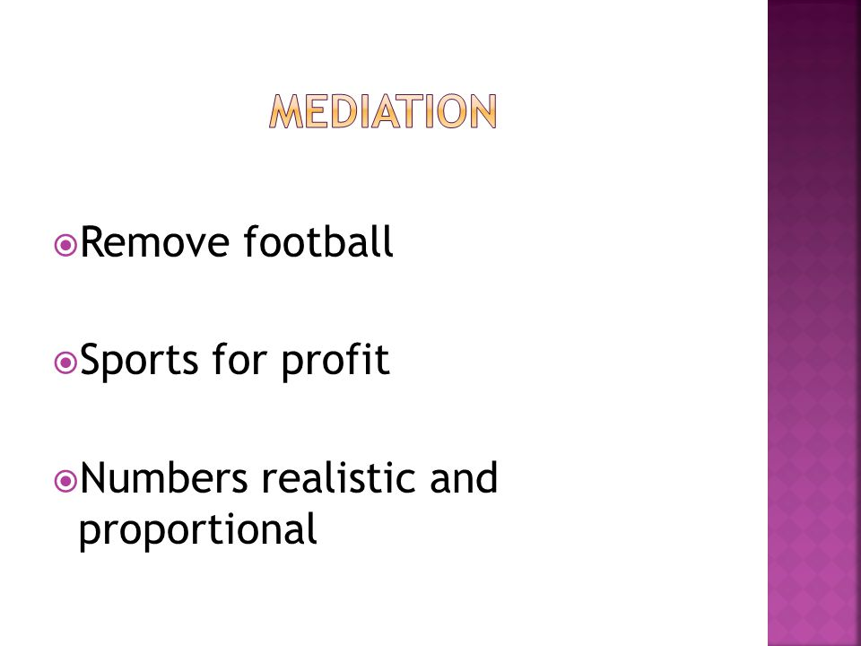  Remove football  Sports for profit  Numbers realistic and proportional