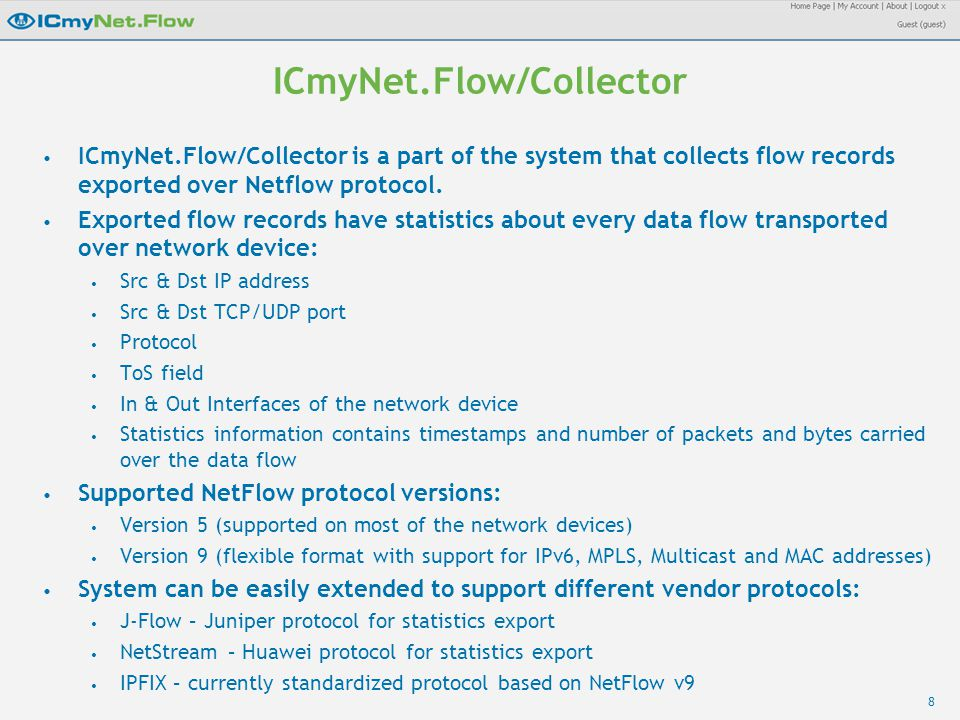 8 ICmyNet.Flow/Collector ICmyNet.Flow/Collector is a part of the system that collects flow records exported over Netflow protocol.