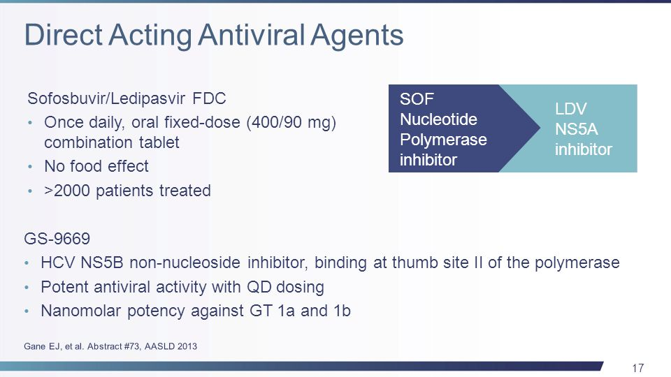 17 GS-9669 HCV NS5B non-nucleoside inhibitor, binding at thumb site II of the polymerase Potent antiviral activity with QD dosing Nanomolar potency against GT 1a and 1b Sofosbuvir/Ledipasvir FDC Once daily, oral fixed-dose (400/90 mg) combination tablet No food effect >2000 patients treated SOF Nucleotide Polymerase inhibitor LDV NS5A inhibitor