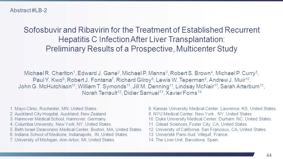 44 Sofosbuvir and Ribavirin for the Treatment of Established Recurrent Hepatitis C Infection After Liver Transplantation: Preliminary Results of a Prospective, Multicenter Study 1.