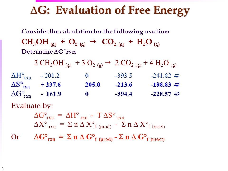 1010  G: Evaluation of Free Energy Consider the calculation for the following reaction: CH 3 OH (g) + O 2 (g)  CO 2 (g) + H 2 O (g) Determine  G°rxn 2 CH 3 OH (g) + 3 O 2 (g)  2 CO 2 (g) + 4 H 2 O (g)  H° rxn - 201.20-393.5-241.82   S° rxn + 237.6205.0-213.6-188.83   G° rxn - 161.90-394.4-228.57  Evaluate by:  G° rxn =  H° rxn - T  S° rxn  X° rxn =  n  X° f (prod) -  n  X° f (react) Or  G° rxn =  n  G° f (prod) -  n  G° f (react)