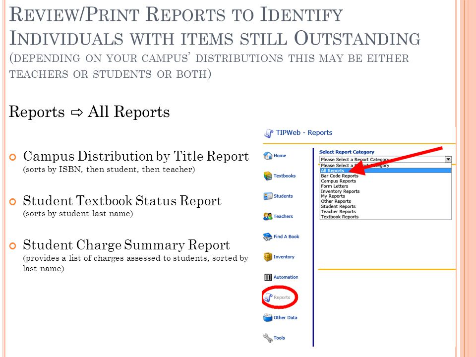 R EVIEW /P RINT R EPORTS TO I DENTIFY I NDIVIDUALS WITH ITEMS STILL O UTSTANDING ( DEPENDING ON YOUR CAMPUS ' DISTRIBUTIONS THIS MAY BE EITHER TEACHERS OR STUDENTS OR BOTH ) Reports ⇨ All Reports Campus Distribution by Title Report (sorts by ISBN, then student, then teacher) Student Textbook Status Report (sorts by student last name) Student Charge Summary Report (provides a list of charges assessed to students, sorted by last name)