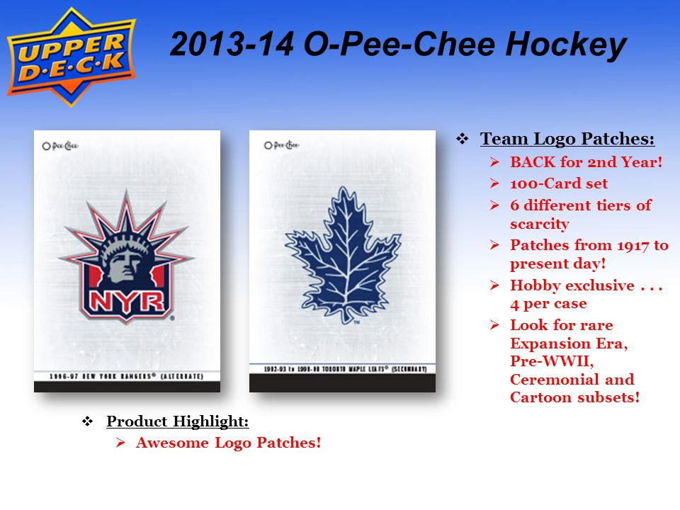 2013-14 O-Pee-Chee Hockey  Team Logo Patches:  BACK for 2nd Year.