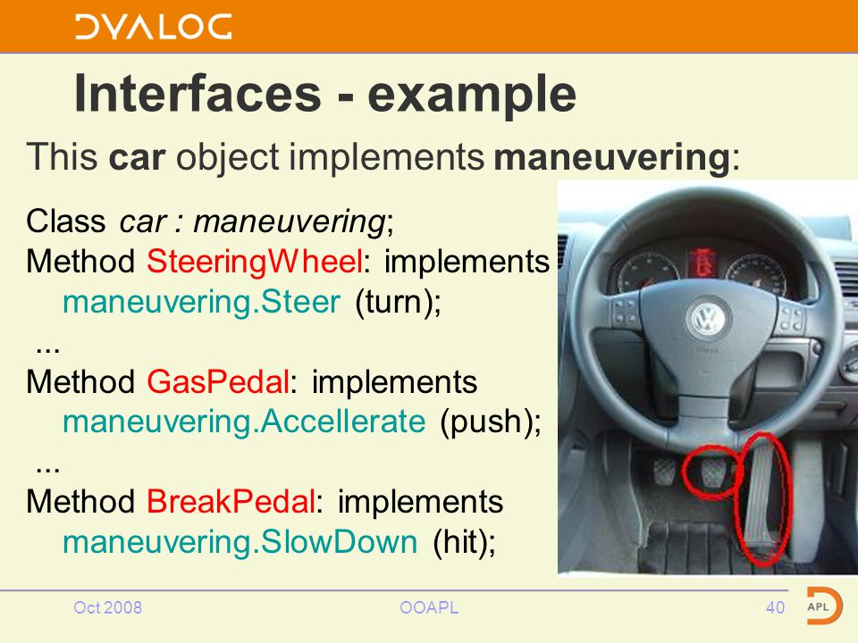 Oct 2008OOAPL40 Interfaces - example This car object implements maneuvering: Class car : maneuvering; Method SteeringWheel: implements maneuvering.Steer (turn);...