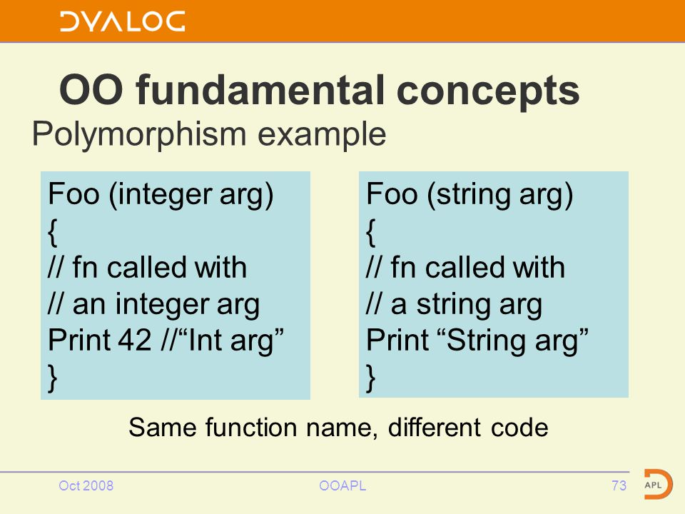 Oct 2008OOAPL73 OO fundamental concepts Polymorphism example Foo (integer arg) { // fn called with // an integer arg Print 42 // Int arg } Foo (string arg) { // fn called with // a string arg Print String arg } Same function name, different code