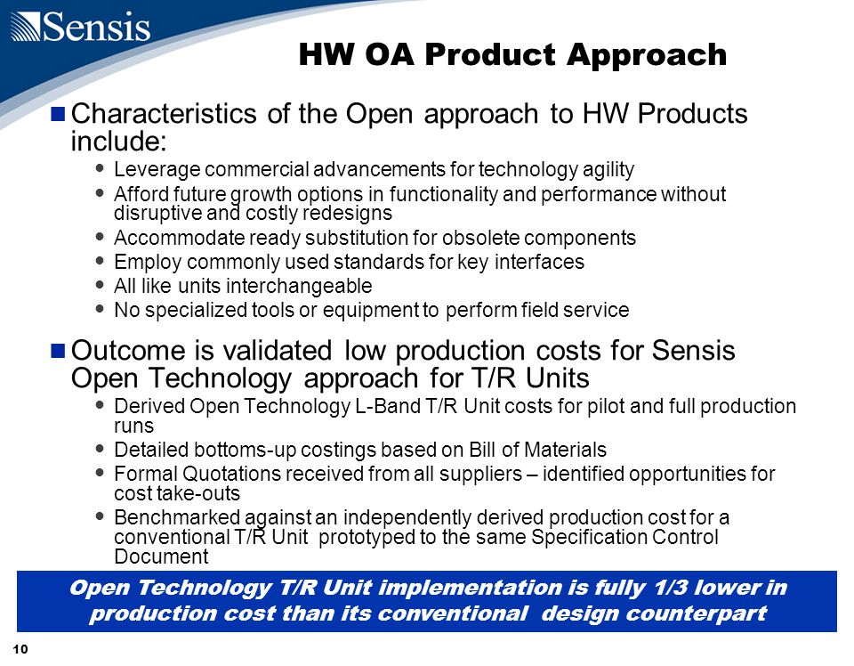 10 HW OA Product Approach Characteristics of the Open approach to HW Products include: Leverage commercial advancements for technology agility Afford future growth options in functionality and performance without disruptive and costly redesigns Accommodate ready substitution for obsolete components Employ commonly used standards for key interfaces All like units interchangeable No specialized tools or equipment to perform field service Outcome is validated low production costs for Sensis Open Technology approach for T/R Units Derived Open Technology L-Band T/R Unit costs for pilot and full production runs Detailed bottoms-up costings based on Bill of Materials Formal Quotations received from all suppliers – identified opportunities for cost take-outs Benchmarked against an independently derived production cost for a conventional T/R Unit prototyped to the same Specification Control Document Open Technology T/R Unit implementation is fully 1/3 lower in production cost than its conventional design counterpart
