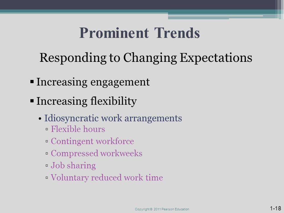 Prominent Trends Responding to Changing Expectations  Increasing engagement  Increasing flexibility Idiosyncratic work arrangements ▫Flexible hours ▫Contingent workforce ▫Compressed workweeks ▫Job sharing ▫Voluntary reduced work time Copyright © 2011 Pearson Education 1-18