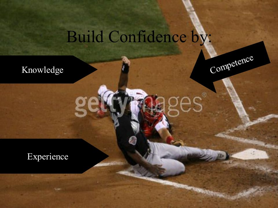 Build Confidence by: Experience Knowledge Competence