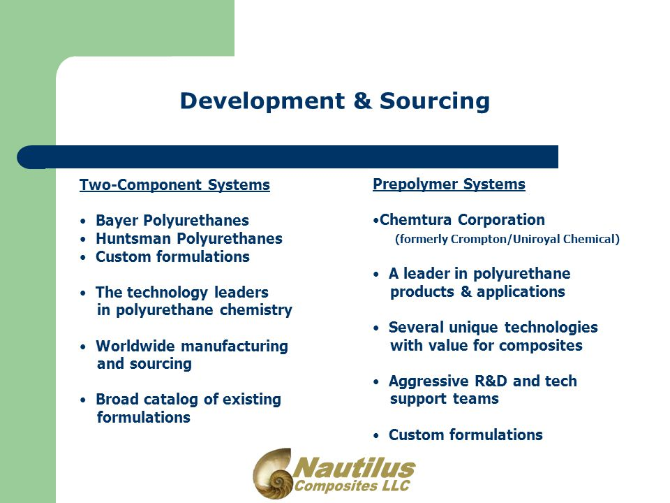 Development & Sourcing Two-Component Systems Bayer Polyurethanes Huntsman Polyurethanes Custom formulations The technology leaders in polyurethane chemistry Worldwide manufacturing and sourcing Broad catalog of existing formulations Prepolymer Systems Chemtura Corporation (formerly Crompton/Uniroyal Chemical) A leader in polyurethane products & applications Several unique technologies with value for composites Aggressive R&D and tech support teams Custom formulations