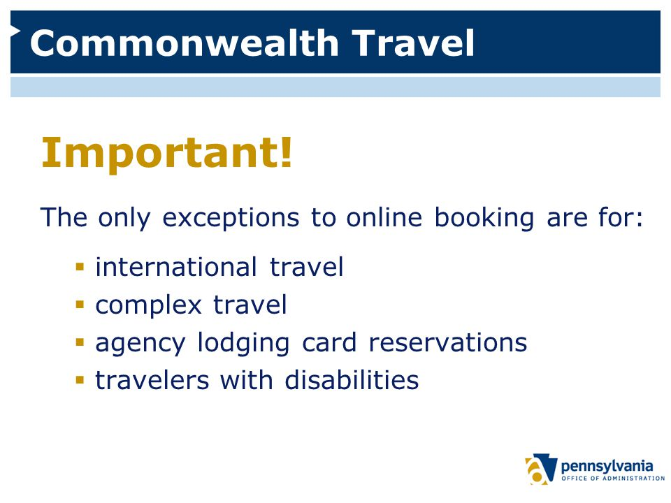 Commonwealth Travel Important.