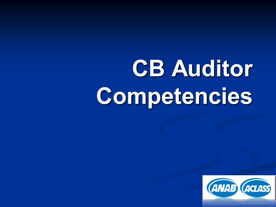 CB Auditor Competencies