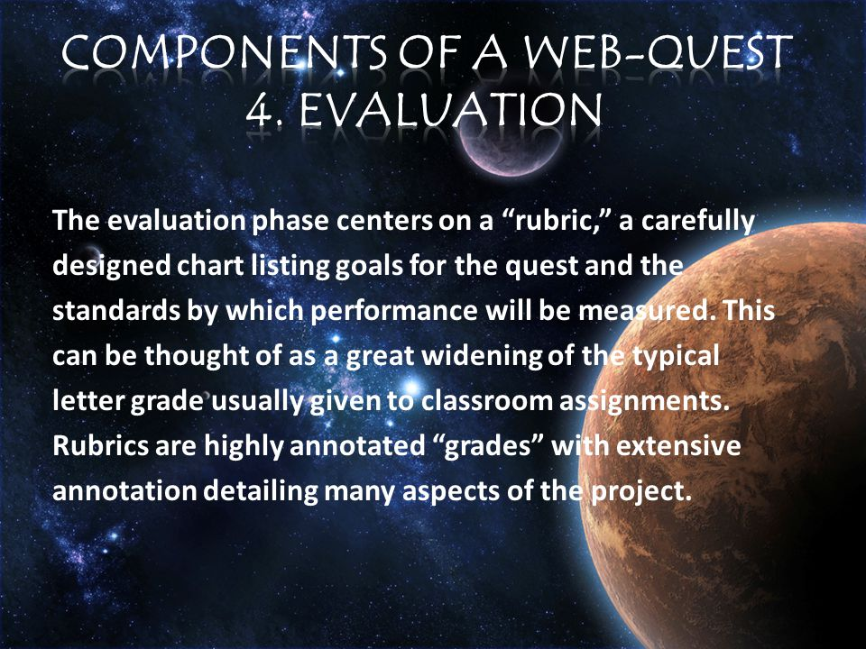 The evaluation phase centers on a rubric, a carefully designed chart listing goals for the quest and the standards by which performance will be measured.