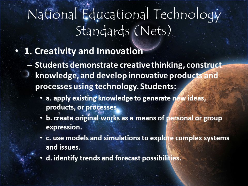 National Educational Technology Standards (Nets) 1.