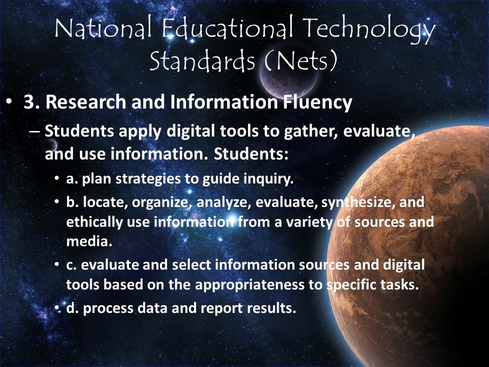 National Educational Technology Standards (Nets) 3.