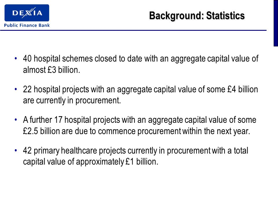 Background: Statistics 40 hospital schemes closed to date with an aggregate capital value of almost £3 billion.