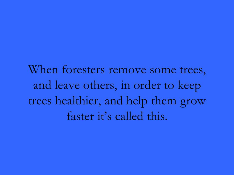 When foresters remove some trees, and leave others, in order to keep trees healthier, and help them grow faster it's called this.