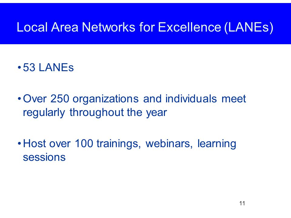 53 LANEs Over 250 organizations and individuals meet regularly throughout the year Host over 100 trainings, webinars, learning sessions 11 Local Area Networks for Excellence (LANEs)