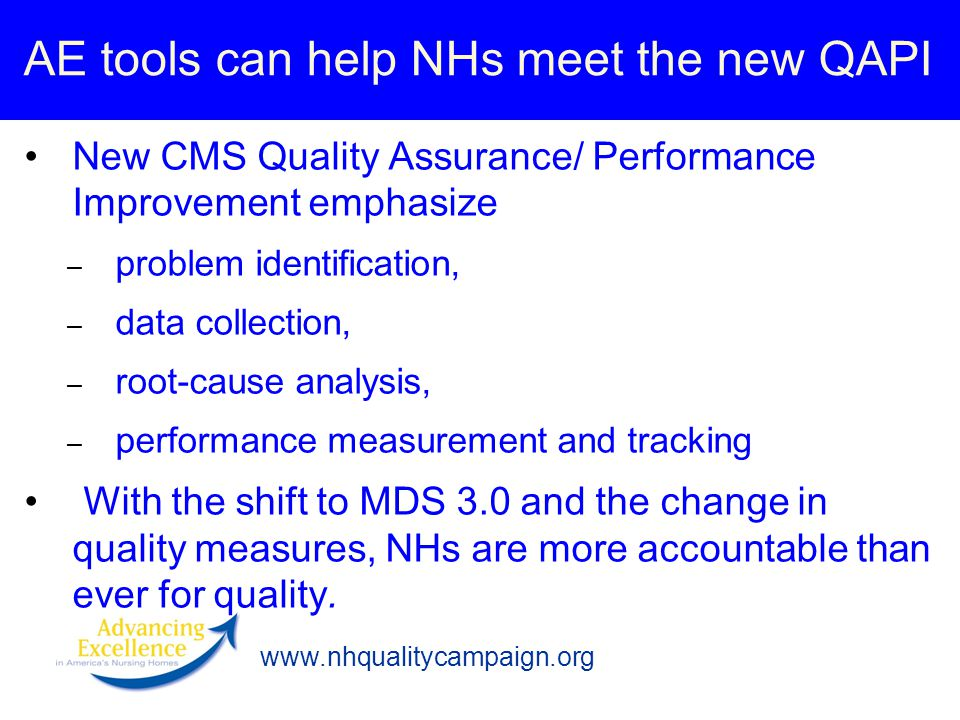 www.nhqualitycampaign.org AE tools can help NHs meet the new QAPI New CMS Quality Assurance/ Performance Improvement emphasize – problem identification, – data collection, – root-cause analysis, – performance measurement and tracking With the shift to MDS 3.0 and the change in quality measures, NHs are more accountable than ever for quality.