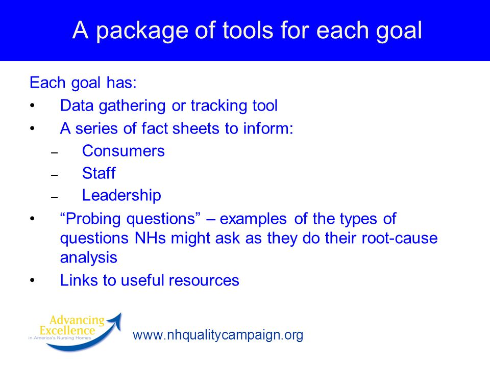 www.nhqualitycampaign.org A package of tools for each goal Each goal has: Data gathering or tracking tool A series of fact sheets to inform: – Consumers – Staff – Leadership Probing questions – examples of the types of questions NHs might ask as they do their root-cause analysis Links to useful resources