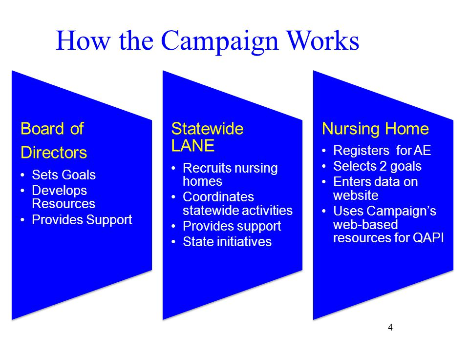 4 Board of Directors Sets Goals Develops Resources Provides Support Statewide LANE Recruits nursing homes Coordinates statewide activities Provides support State initiatives Nursing Home Registers for AE Selects 2 goals Enters data on website Uses Campaign's web-based resources for QAPI How the Campaign Works