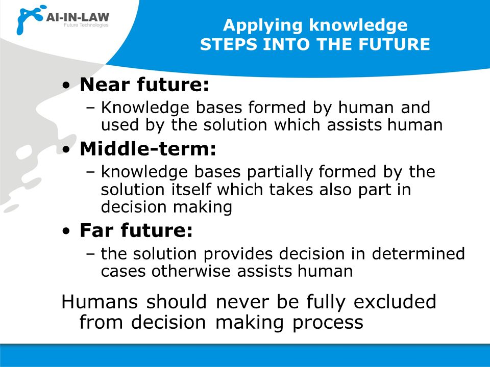 Applying knowledge STEPS INTO THE FUTURE Near future: –Knowledge bases formed by human and used by the solution which assists human Middle-term: –knowledge bases partially formed by the solution itself which takes also part in decision making Far future: –the solution provides decision in determined cases otherwise assists human Humans should never be fully excluded from decision making process