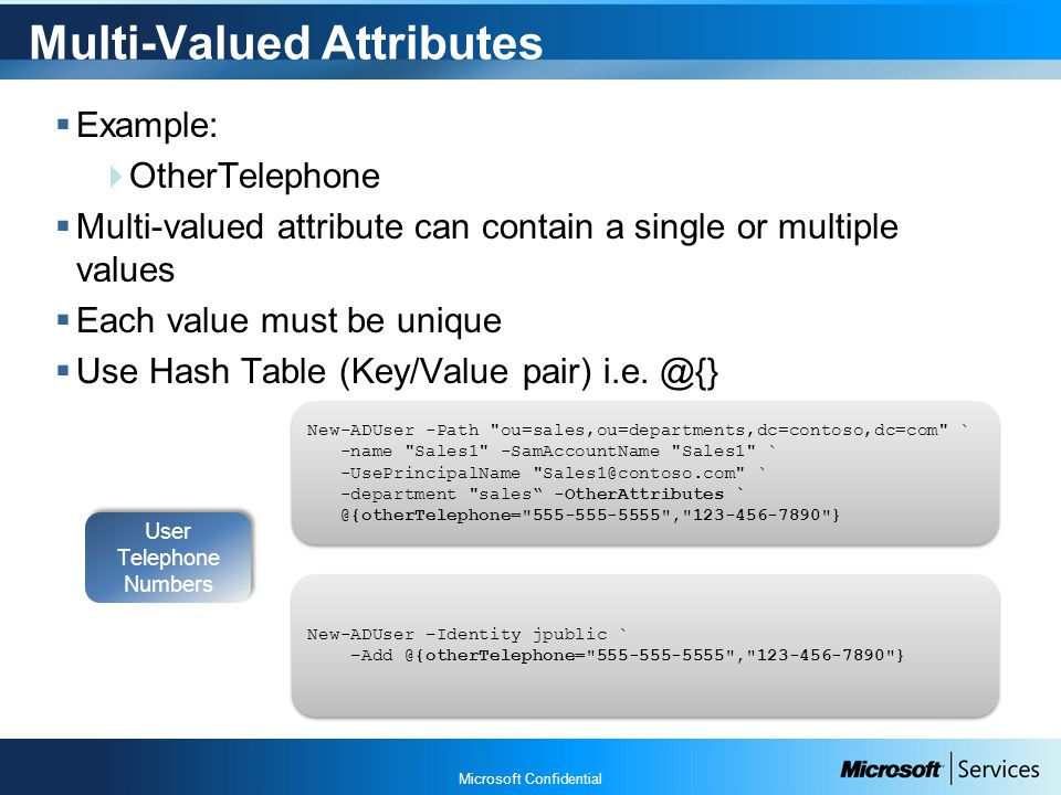 Microsoft Confidential Multi-Valued Attributes  Example:  OtherTelephone  Multi-valued attribute can contain a single or multiple values  Each value must be unique  Use Hash Table (Key/Value pair) i.e.