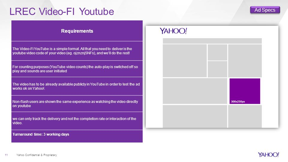 LREC Video-FI Youtube 11 Yahoo Confidential & Proprietary Requirements The Video-Fi YouTube is a simple format.