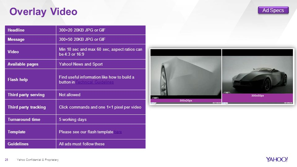 Overlay Video 25 Yahoo Confidential & Proprietary Headline300×20 20KB JPG or GIF Message300×50 20KB JPG or GIF Video Min 10 sec and max 60 sec, aspect ratios can be 4:3 or 16:9 Available pagesYahoo.
