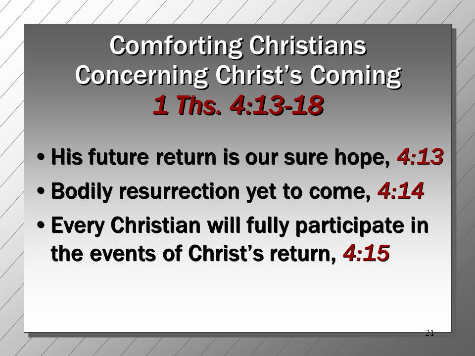 21 Comforting Christians Concerning Christ's Coming 1 Ths.