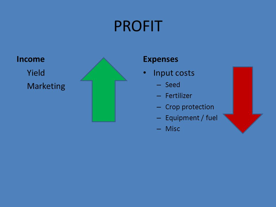 PROFIT Income Yield Marketing Expenses Input costs – Seed – Fertilizer – Crop protection – Equipment / fuel – Misc