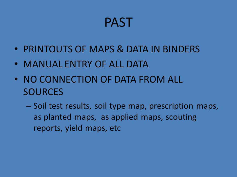 PAST PRINTOUTS OF MAPS & DATA IN BINDERS MANUAL ENTRY OF ALL DATA NO CONNECTION OF DATA FROM ALL SOURCES – Soil test results, soil type map, prescription maps, as planted maps, as applied maps, scouting reports, yield maps, etc