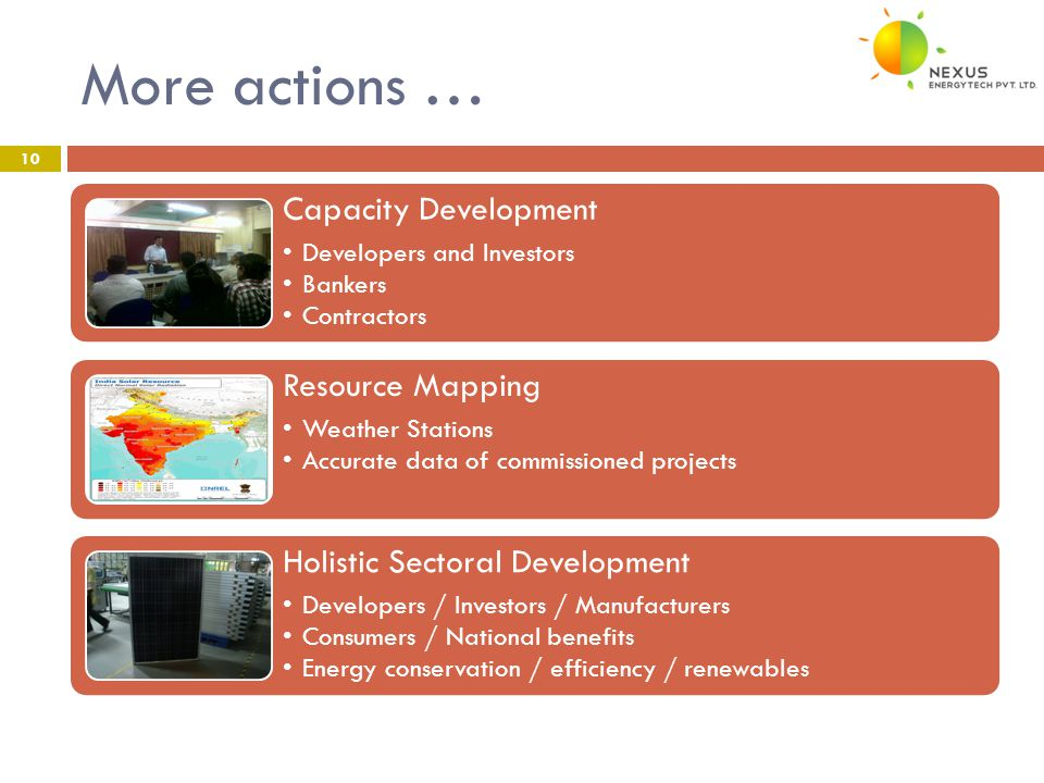 More actions … 10 Capacity Development Developers and Investors Bankers Contractors Resource Mapping Weather Stations Accurate data of commissioned projects Holistic Sectoral Development Developers / Investors / Manufacturers Consumers / National benefits Energy conservation / efficiency / renewables