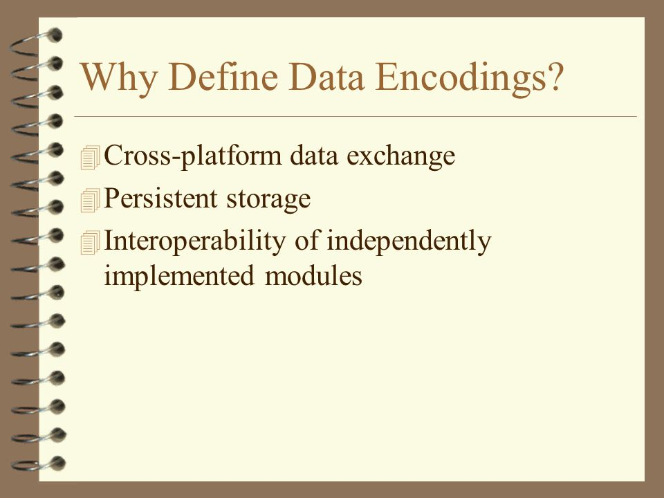 Why Define Data Encodings.