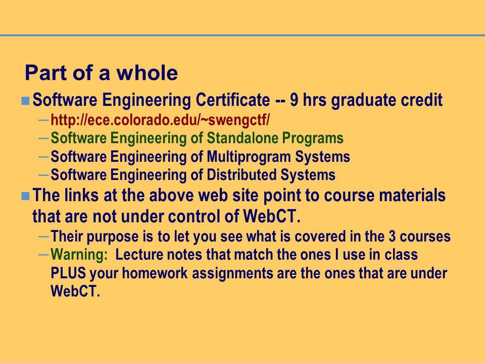 Software Engineering Of Standalone Programs Prof Ruth Dameron