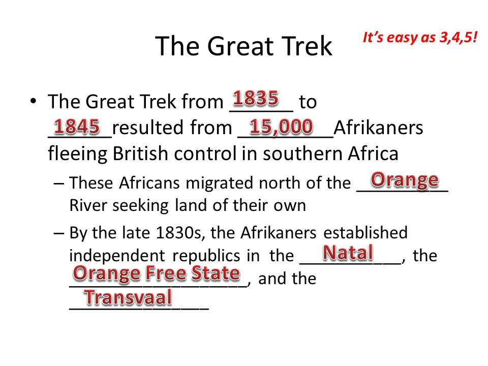 The Great Trek The Great Trek from ______ to ______resulted from _________Afrikaners fleeing British control in southern Africa – These Africans migrated north of the __________ River seeking land of their own – By the late 1830s, the Afrikaners established independent republics in the ___________, the ___________________, and the _______________ It's easy as 3,4,5!