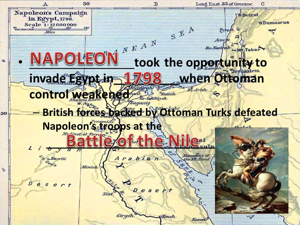 ________________took the opportunity to invade Egypt in__________when Ottoman control weakened – British forces backed by Ottoman Turks defeated Napoleon's troops at the __________________________________